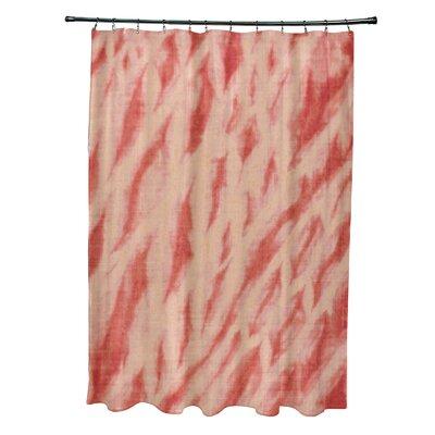 Grand Ridge Polyester Shibori Stripe Geometric Shower Curtain Color: Coral