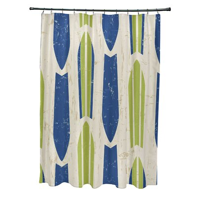 Pembrook Polyester Dean Geometric Shower Curtain Color: Light Green