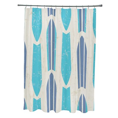 Pembrook Polyester Dean Geometric Shower Curtain Color: Turquoise