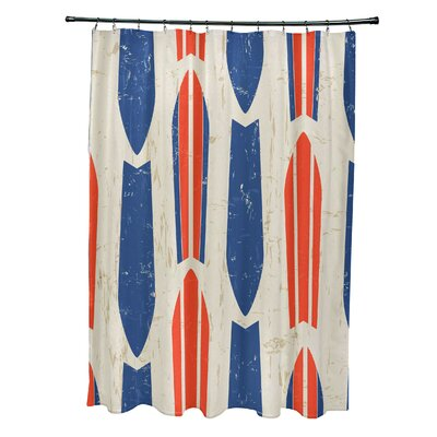 Pembrook Polyester Dean Geometric Shower Curtain Color: Orange