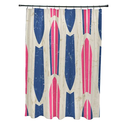 Pembrook Polyester Dean Geometric Shower Curtain Color: Pink