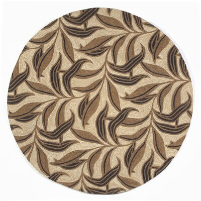 Demirhan Neutral Leaf Outdoor Rug Rug Size: Round 8