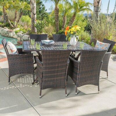 Tellara Outdoor 7 Piece Dining Set with Cushions
