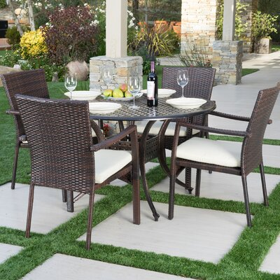 Hayden Outdoor 5 Piece Dining Set with Cushions