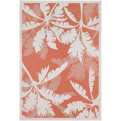 Tomie Coastal Flora Ivory/Orange Indoor/Outdoor Area Rug Rug Size: 53 x 76