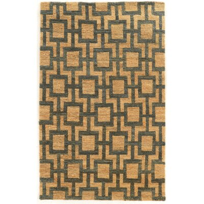 Chloraka Hand-Knotted Beige/Slate Area Rug Rug Size: Rectangle 5 x 8