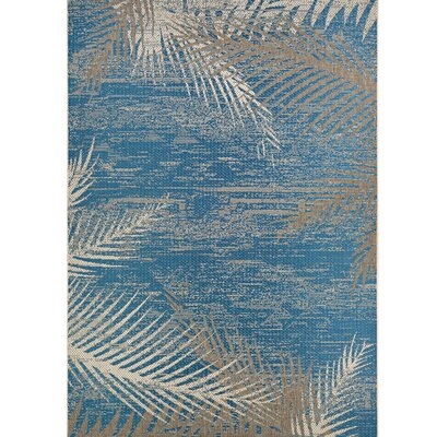 Odilia Tropical Palms Blue/Gray/Beige Indoor/Outdoor Area Rug Rug Size: Rectangle 2 x 37