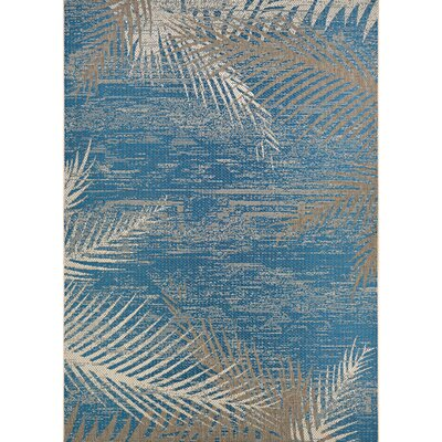 Karakoumi Tropical Palms Blue/Gray/Beige Indoor/Outdoor Area Rug Rug Size: 39 x 55