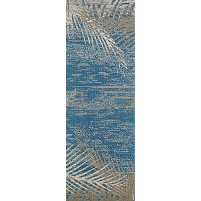 Odilia Tropical Palms Blue/Gray/Beige Indoor/Outdoor Area Rug Rug Size: Runner 23 x 71