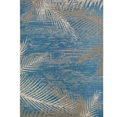 Karakoumi Tropical Palms Blue/Gray/Beige Indoor/Outdoor Area Rug Rug Size: 510 x 92