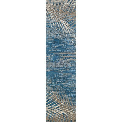 Odilia Tropical Palms Blue/Gray/Beige Indoor/Outdoor Area Rug Rug Size: Runner 23 x 119