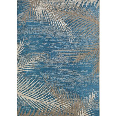 Odilia Tropical Palms Blue/Gray/Beige Indoor/Outdoor Area Rug Rug Size: Rectangle 86 x 13