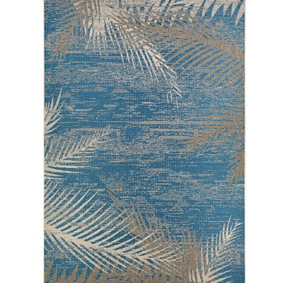 Karakoumi Tropical Palms Blue/Gray/Beige Indoor/Outdoor Area Rug Rug Size: 76 x 109