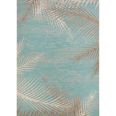 Karakoumi Tropical Palms Turquoise/Gray/Ivory Indoor/Outdoor Area Rug Rug Size: 86 x 13