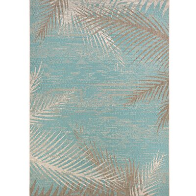 Odilia Tropical Palms Turquoise/Gray/Ivory Indoor/Outdoor Area Rug Rug Size: 53 x 76