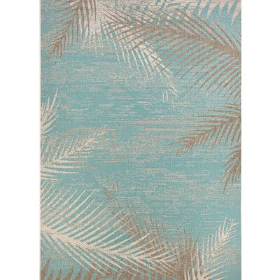 Odilia Tropical Palms Turquoise/Gray/Ivory Indoor/Outdoor Area Rug Rug Size: Rectangle 76 x 109