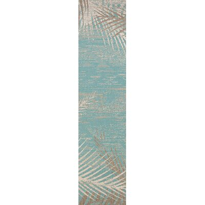 Odilia Tropical Palms Turquoise/Gray/Ivory Indoor/Outdoor Area Rug Rug Size: Runner 23 x 119