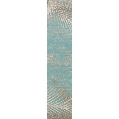 Karakoumi Tropical Palms Turquoise/Gray/Ivory Indoor/Outdoor Area Rug Rug Size: Runner 23 x 710
