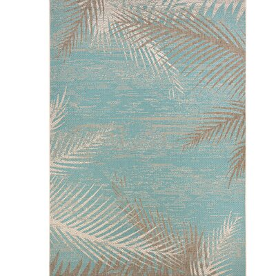 Karakoumi Tropical Palms Turquoise/Gray/Ivory Indoor/Outdoor Area Rug Rug Size: 39 x 55