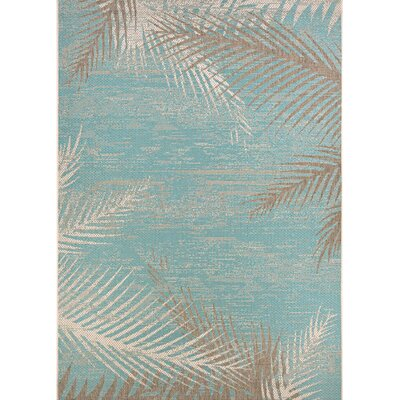 Odilia Tropical Palms Turquoise/Gray/Ivory Indoor/Outdoor Area Rug Rug Size: Rectangle 2 x 37