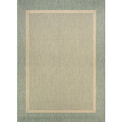 Karakum Texture Green/Beige Indoor/Outdoor Area Rug Rug Size: 53 x 76
