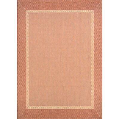 Karakum Texture Beige/Terracotta Indoor/Outdoor Area Rug Rug Size: 53 x 76