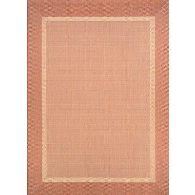 Karakum Texture Beige/Terracotta Indoor/Outdoor Area Rug Rug Size: 39 x 55