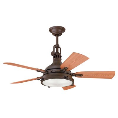 44 Dov 5 Blade Outdoor LED Ceiling Fan Color: Tannery Bronze with Cherry/Walnut Blades