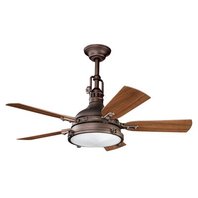 44 Dov 5 Blade Outdoor LED Ceiling Fan Finish: Weathered Copper with Dark/Light Walnut