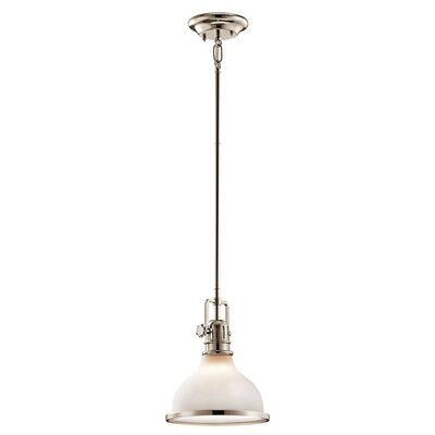 Dov 1-Light Glass Shade Pendant Finish: Polished Nickel