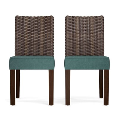 Kontemenos Rattan Side Chair Upholstery: Peacock Blue