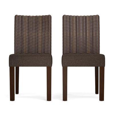 Kontemenos Rattan Side Chair Upholstery: Chocolate Brown