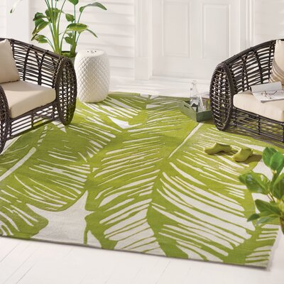 Rhianna Hand-Hooked Green Indoor/Outdoor Area Rug Rug Size: 2 x 3