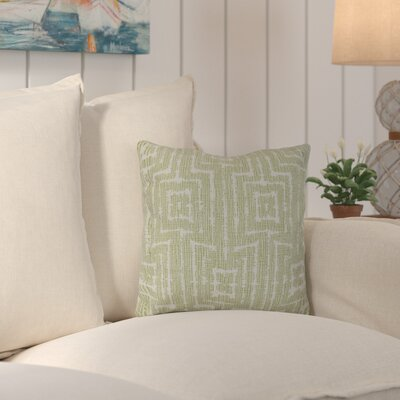 Thirlby Woven Tiki Geometric Print Throw Pillow Size: 18 H x 18 W x 3 D, Color: Green