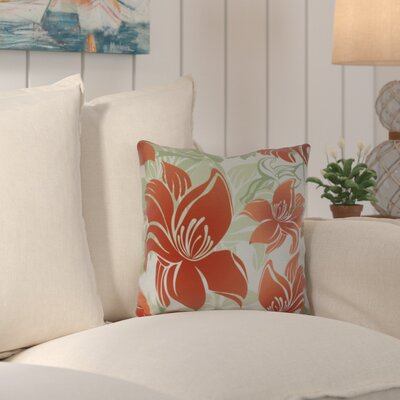 Costigan Tree Mallow Floral Print Outdoor Throw Pillow Size: 18 H x 18 W x 3 D, Color: Orange