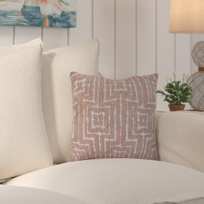 Thirlby Woven Tiki Geometric Print Throw Pillow Size: 18 H x 18 W x 3 D, Color: Orange