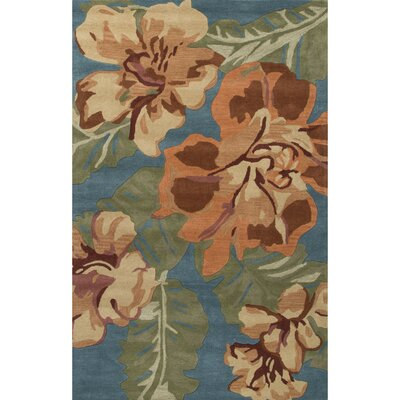 Arsos Hand-Tufted Orange/Blue Area Rug Rug Size: 5 x 8