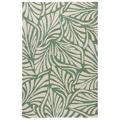 Artemi Bottle Green/Cloud Cream Indoor/Outdoor Area Rug Rug Size: Rectangle 76 x 96