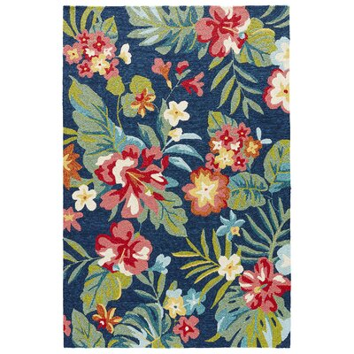 Artemi Legion Blue/Claret Red Indoor/Outdoor Area Rug Rug Size: 76 x 96