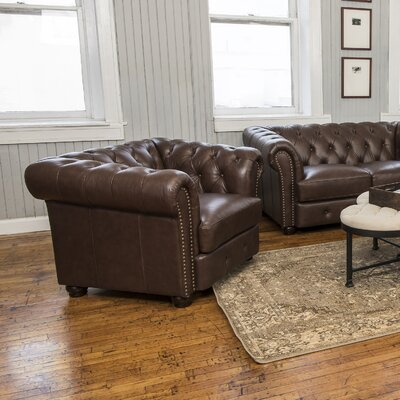 Davlos Stationary Leather Arm Chair