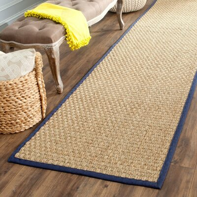 Belhaven Natural/Blue Area Rug Rug Size: Runner 26 x 8