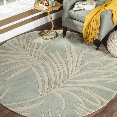 Palmnue Hand-Hooked Beige/Gray Area Rug Rug Size: 6 x 9