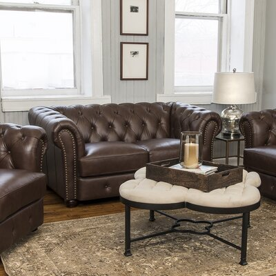 Laila Leather Chesterfield Loveseat