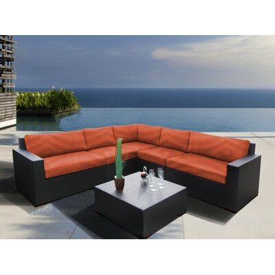 Scholtz 6 Piece Sectional Seating Group with Cushions Fabric: Canvas Melon
