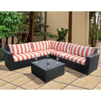 Scholtz 6 Piece Sectional Seating Group with Cushions Fabric: Cabana Flame