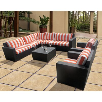 Scholtz 8 Piece Deep Seating Group with Cushions Fabric: Cabana Flame