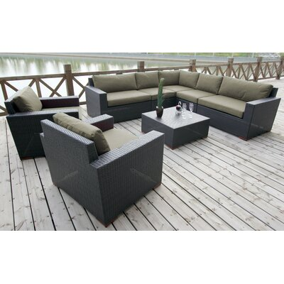 Scholtz 8 Piece Deep Seating Group with Cushions Fabric: Spectrum Dove