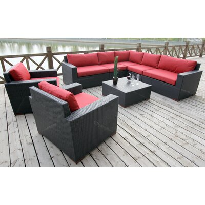 Scholtz 8 Piece Deep Seating Group with Cushions Fabric: Canvas Jockey Red