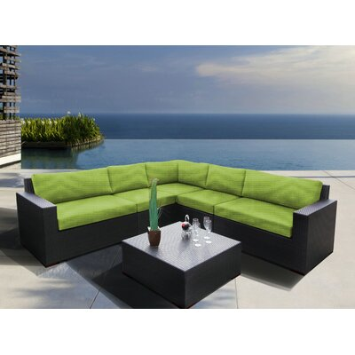 Scholtz 6 Piece Sectional Seating Group with Cushions Fabric: Canvas Ginkgo
