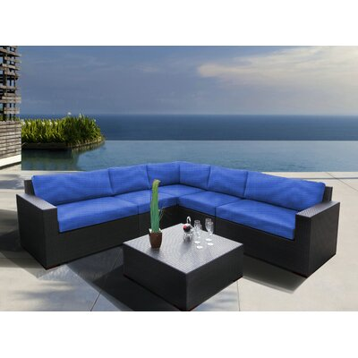 Scholtz 6 Piece Sectional Seating Group with Cushions Fabric: Canvas True Blue